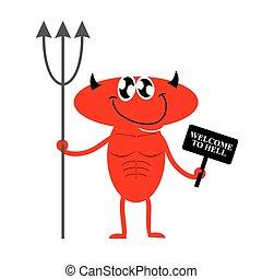 保有物, 印, hell., かわいい, 歓迎, 悪魔, 誘う, ベクトル, 赤, trident., illustration., あなた