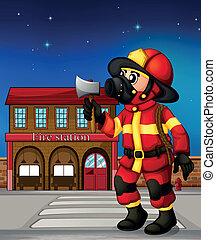 保有物, 外, 火, おの, 消防士, 駅