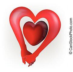 保有物, 心, 手, ロゴ, 愛, 恋人, 形