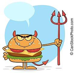 保有物, 特徴, バーガー, 漫画, 怒る, 悪魔, trident