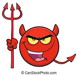 保有物, 表現, 漫画, 悪魔, emoji, 顔, trident, 赤, 悪, 特徴