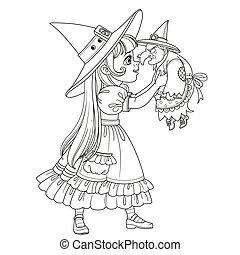 保有物, 魔女, 人形, 衣装, 女の子, かわいい, 概説された, 古い, ページ, 着色