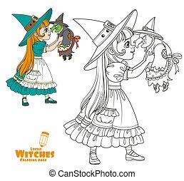 保有物, 魔女, 人形, 衣装, 女の子, 色, かわいい, 概説された, 古い, ページ, 着色