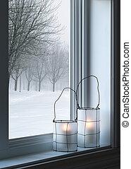 保温カバー, 窓, ランタン, によって, 見られた, 風景, 冬