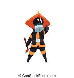 保護である, 消防士, 消防士, 仕事, マスク, イラスト, ユニフォーム, ベクトル, おの, 背景, 白, 特徴