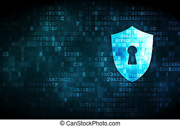 保護, プライバシー, 鍵穴, 背景, デジタル, concept: