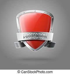 保護, 保護, 現実的, 隔離された, 灰色, バックグラウンド。, ベクトル, グロッシー, ブランク, ボーダー, 銀, リボン, 赤