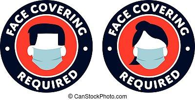 保護, 印, カバーの 表面, required, アイコン, covid-19
