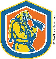 保護, 消防士, 火, 消防士, 保有物, おの