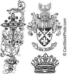 保護, 特許権使用料, 王冠, 交差点, 要素