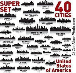 信じられないい, 州, 合併した, set., スカイライン, 都市, america.