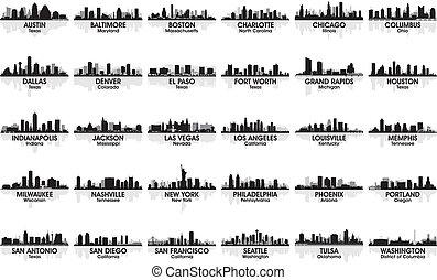 信じられないい, skyline., 30, cities., アメリカ, セット, 都市