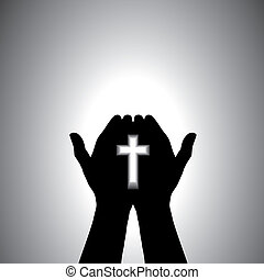 信心深い, 崇拝, キリスト教徒, 手, 交差点