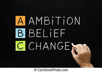 信念, 変化しなさい, 野心