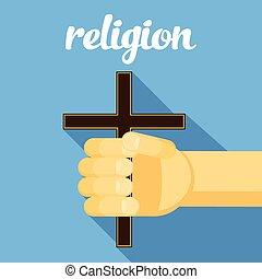 信頼, イラスト, 手, 交差点, 手, 宗教, ベクトル