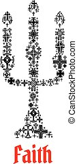 信頼, シンボル, chuch, ろうそく, icon., 宗教