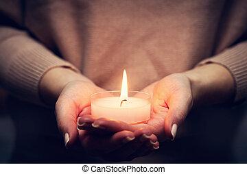 信頼, 白熱, 女性, 宗教, hands., ろうそく, 祈ること, ライト