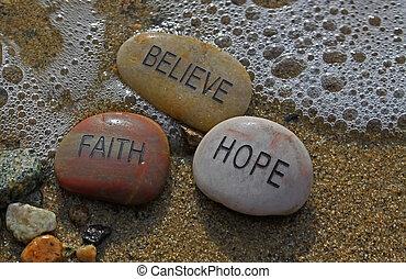 信頼, rocks;, 希望, believe.