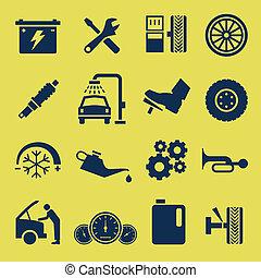 修理, サービス, 自動車, シンボル, 自動車, アイコン