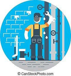 修理, パイプ, 労働者, 水, 落ちる, レンチ, チューブ