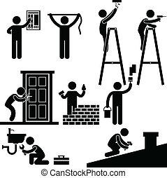 修理, 固定, シンボル, handyman