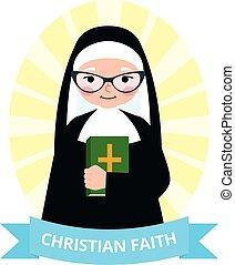 修道女, シニア, 聖書, 手