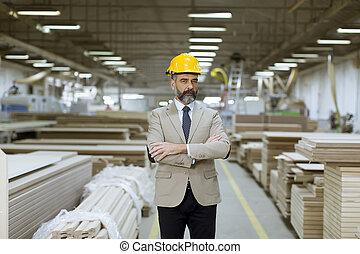 倉庫, ヘルメット, スーツ, ビジネスマン, ハンサム, 肖像画