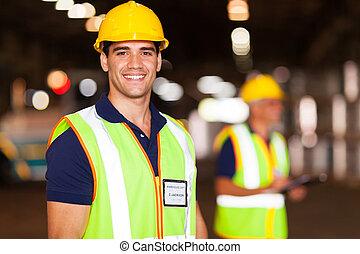 倉庫, 労働者, 若い