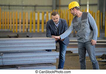 倉庫, 工場, 外, 労働者
