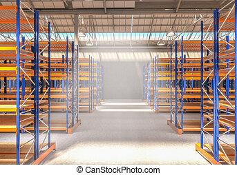 倉庫, 空, 背景