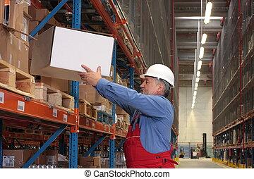 倉庫, 箱, ベテラン, 労働者
