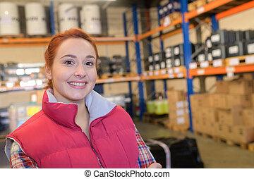 倉庫, 肖像画, 労働者, 女性