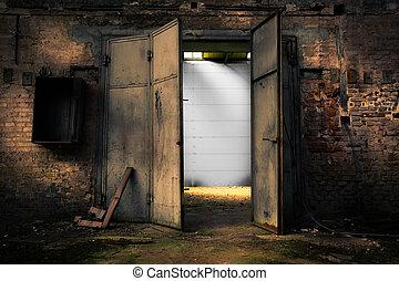 倉庫, 金属, 錆ついた, ドア, 捨てられた