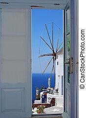 偉人, ドア, 島, santorini, ギリシャ, 光景, バルコニー