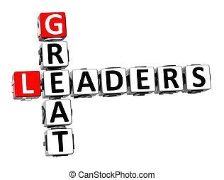 偉人, リーダー, クロスワードパズル, 背景, 白, 3d