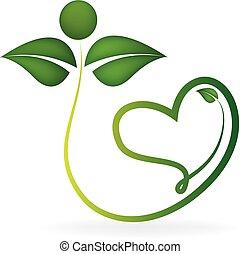 健康な 中心, 形, leafs, ロゴ