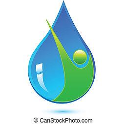健康に良い水, 低下, 人, ロゴ