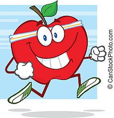健康, ジョッギング, アップル, 赤