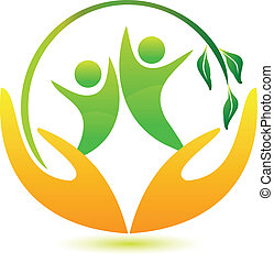 健康, ロゴ, 幸せ, 人々