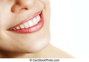 健康, 微笑, 女, 新たに, 歯