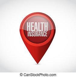 健康, 概念, ポインター, 保険, 印