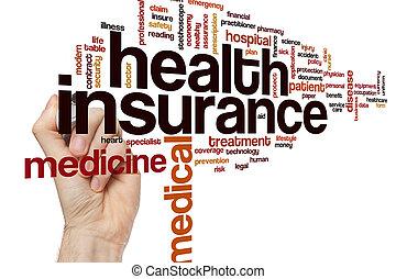 健康, 概念, 単語, 保険, 雲