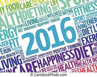 健康, 2016, 単語, 雲