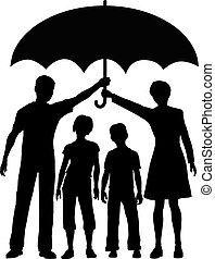 傘, 危険, 家族, 親, 保有物, セキュリティー, 保険