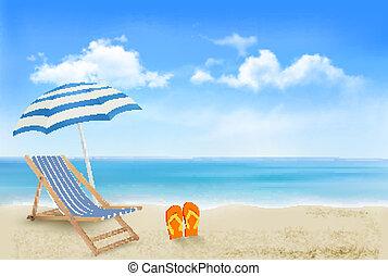 傘, 概念, 夏, flip-flops., 海岸, 休暇, バックグラウンド。, vector., 対, 椅子, 浜, 光景