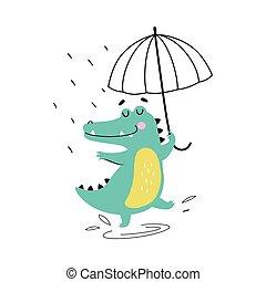 傘, 面白い, イラスト, 雨, かわいい, スタイル, ベクトル, ワニ, 捕食動物, 漫画, 特徴, 歩くこと, 動物, ワニ, 日