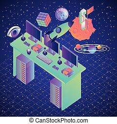 催し物, コンピュータ, バーチャルリアリティ, 机, 技術, 銀河