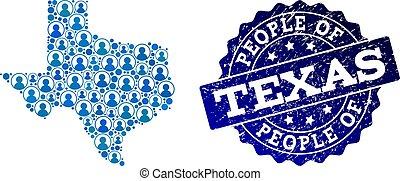 傷付けられる, 地図, 人々, コラージュ, 州, テキサスのシール, モザイク