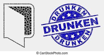 傷付けられる, 酒のうえでである, 切手, ベクトル, pixelated, フォルダー, 開いた, アイコン