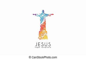 像, イエス・キリスト, logo., キリスト, 救助者